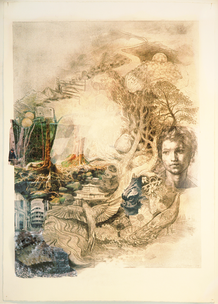 Fantasy #1 Etching, drawing, collage, 2009